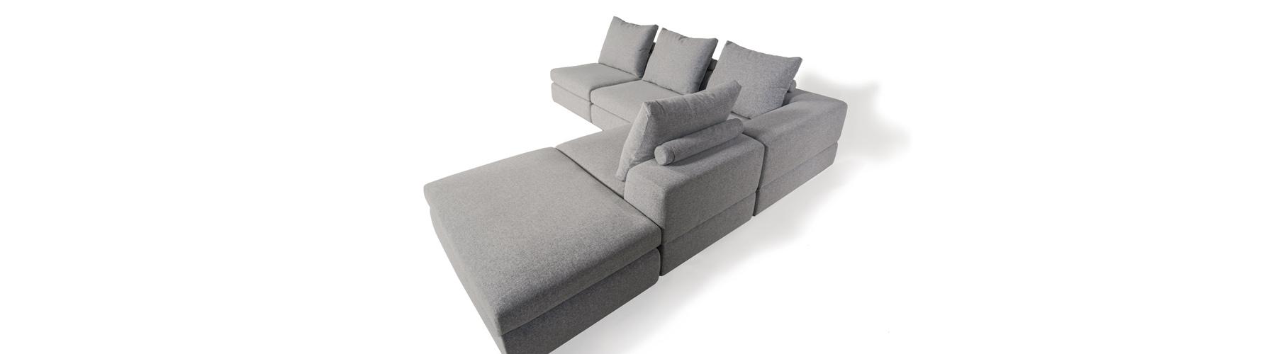 Lionel II - canapé modulaire et sectionnel en tissu fabriqué au Québec par William - divan, causeuse, sofa